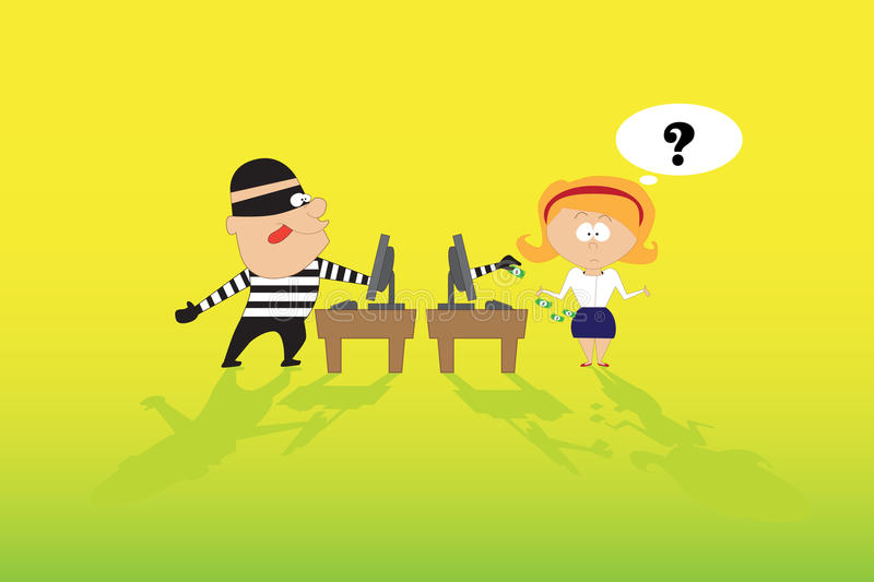 Theft on the Internet. Theft and deception on the Internet. Illustration royalty free illustration