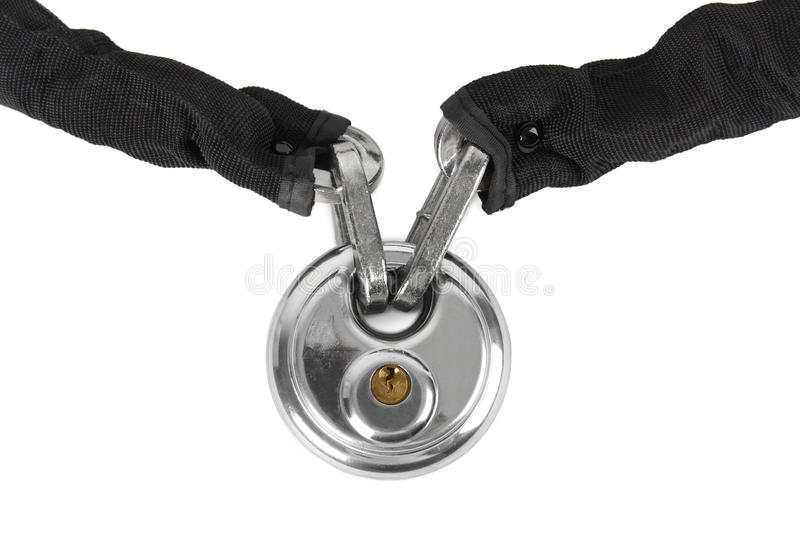 Download Theft Protection Metal Chain With Lock Isolated Stock Photo - Image: 24379930