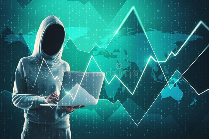 Theft and trade concept. Theft and global trade concept. Side view of hacker using laptop with glowing forex chart on blurry map background. Double exposure royalty free illustration