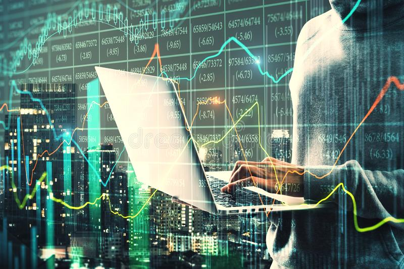 Theft and trade concept. Side view of hacker using laptop on blurry night city background with glowing forex chart. Double exposure stock illustration