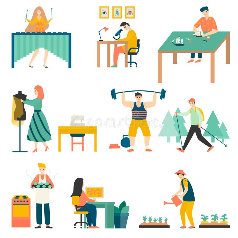 In their free time, people practice their favorite hobbies, play football, plant flowers, cook, repair cars, play musical stock illustration