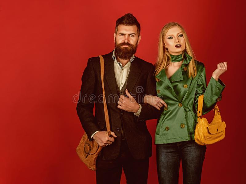 In their own style. Love relations. Autumn fashion trends. Couple in love in fashionable style. Fashion couple of stock photo