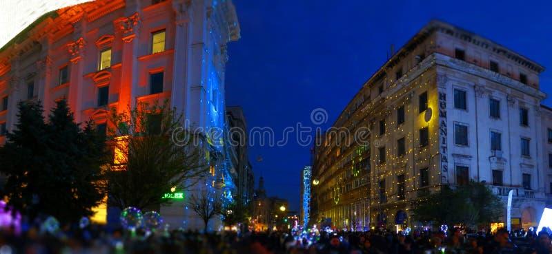 Thema der Ausgabe 2019: EuropeLights Bukarest stockfotografie