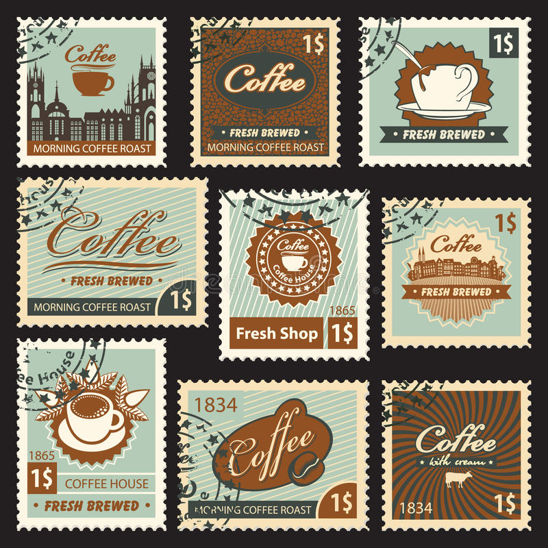 Thema des Kaffees stock abbildung