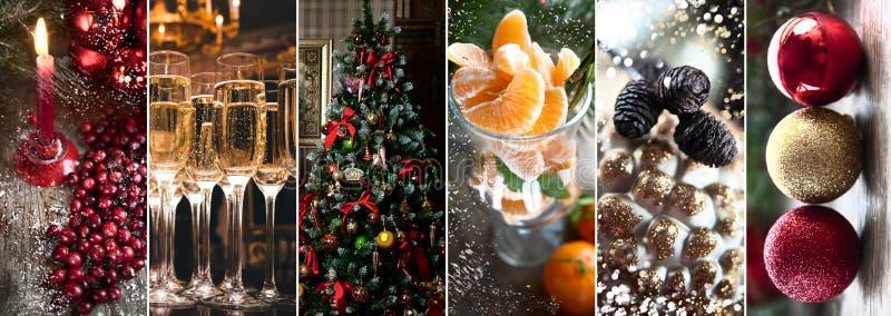 Thema des neuen Jahres, Weihnachten, stilvolle Collage Kerzen und c stockfotografie