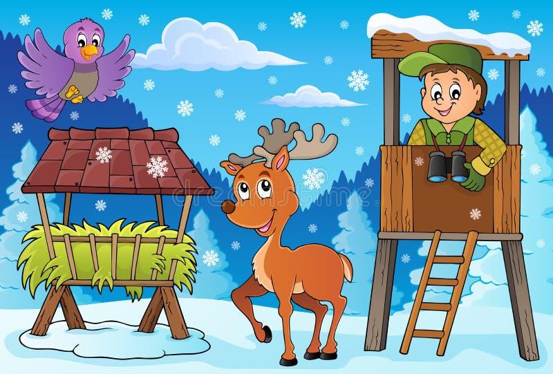 Thema 3 van de houtvesterwinter royalty-vrije illustratie