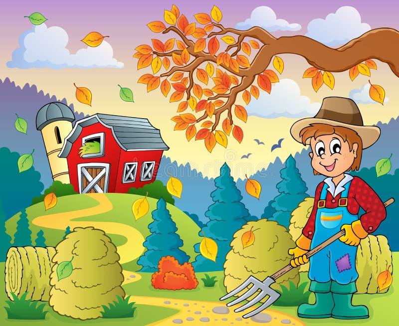 Thema 8 van het de herfstlandbouwbedrijf vector illustratie