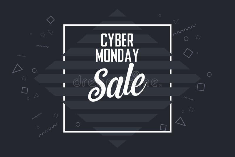 Thema-Verkaufs-Fahnen-Vektor-Hintergrund-Schablone cyber-Montages dunkle stock abbildung
