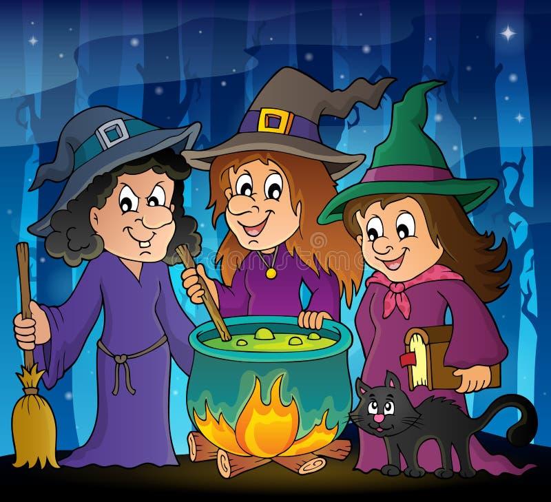 Themabild 2 mit drei Hexen stock abbildung