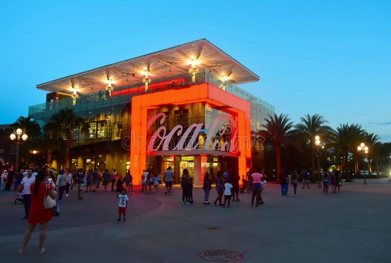 Thematic Store with red neon lights in Lake Buena Vista on blue sky backround. Orlando, Florida; August 19, 2018 Thematic Store with red neon lights in Lake stock images