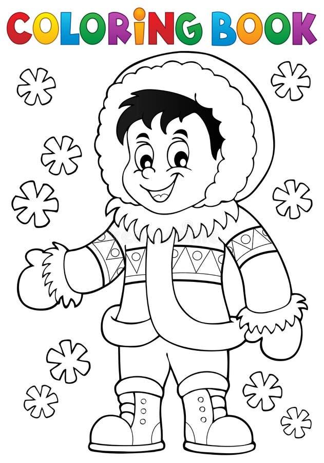 Thematics 1 del Inuit del libro de colorear stock de ilustración