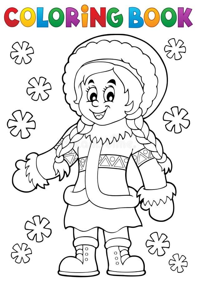 Thematics 2 för inuit för färgläggningbok vektor illustrationer