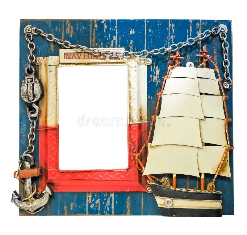 Thematisch blauw zeevaartfotokader voor zeeman Vuurtoren, anker, ketting, varend schip Word Navigatie op het kader royalty-vrije stock fotografie