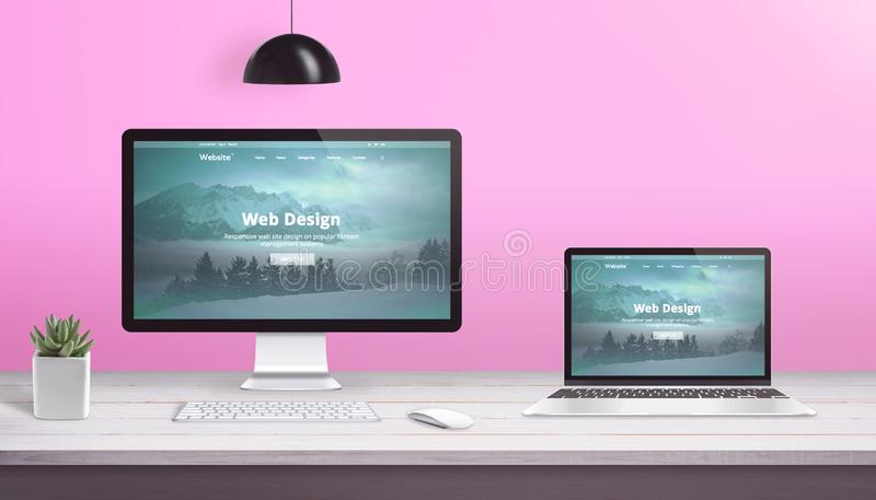Theme design studio concept with computer display and laptop with flat design web site.  stock illustration