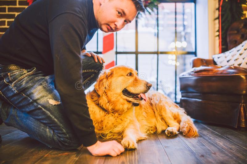 The theme is the friendship of man and animal. Caucasian young male and pet dog breed Labrador Golden Retriever at home inside in royalty free stock image