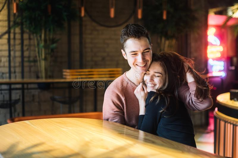 Theme love and holiday Valentines Day. couple of college students together in Caucasian heterosexual lovers winter stock image