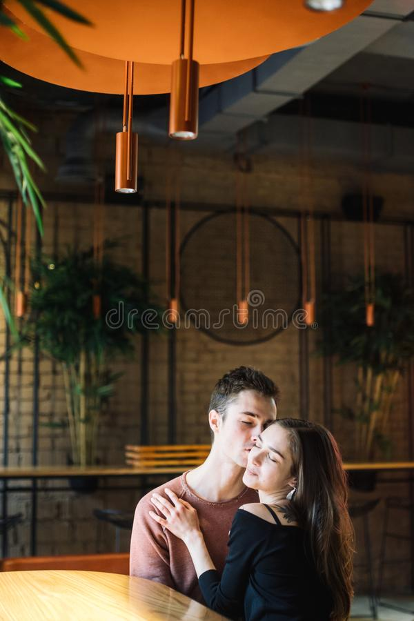 Theme love and holiday Valentines Day. couple of college students together in Caucasian heterosexual lovers winter stock photos