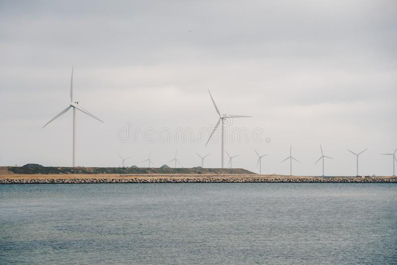 The theme is net power generation and environmental protection. A number of wind blades, wind power in the Baltic Sea in. Europe Denmark Copenhagen in winter royalty free stock images