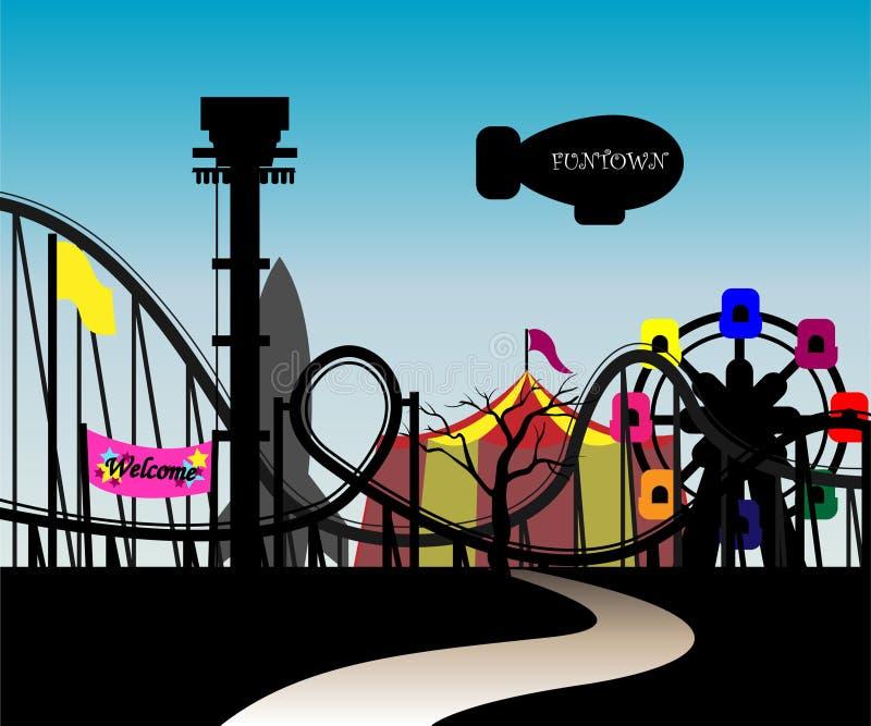 Download Theme park stock vector. Illustration of zeppelin, ferris - 10112711