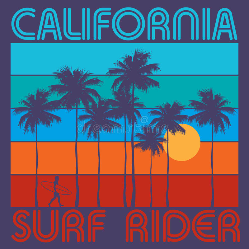 Theme of surfing with text California, Surf Rider. Typography, t-shirt graphics, poster, print, banner or postcard, vector illustration stock illustration
