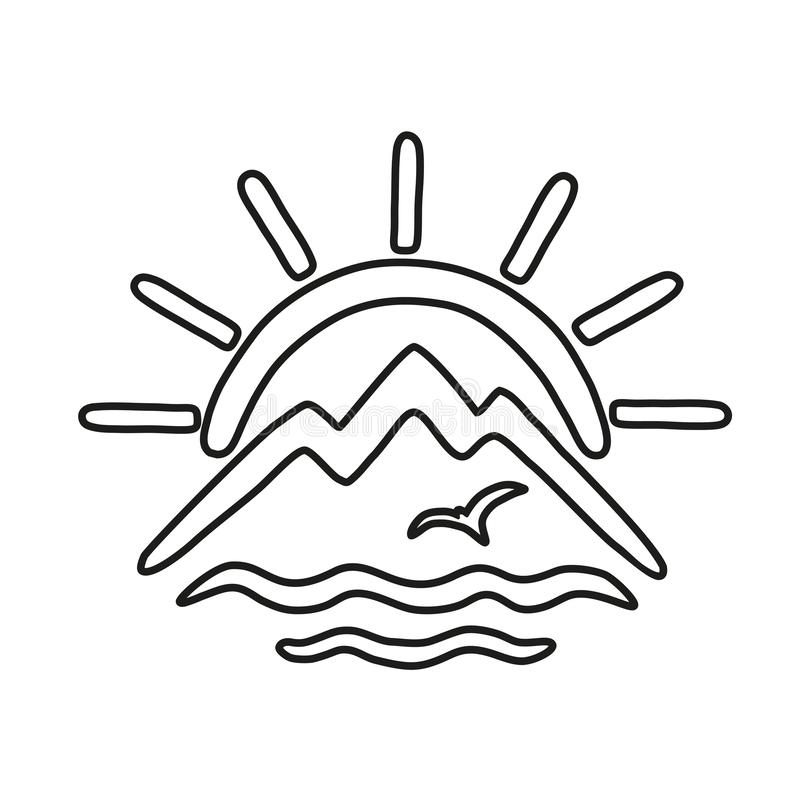 The theme of travel and recreation in the form of stylized sun, mountains, sea and gulls. Outline vector icon. The concept of travel and recreation in the form stock illustration