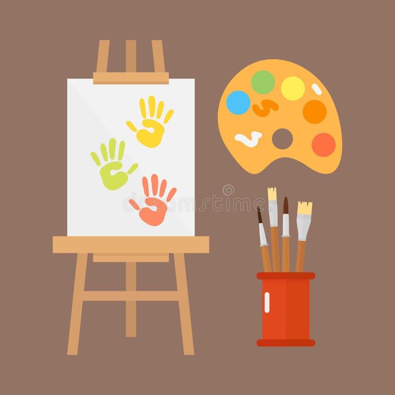 Themed affisch för symboler för ungekreativitetskapelse i plan stil med konstnärliga objekt för den ovanliga festen för barnkonst royaltyfri illustrationer
