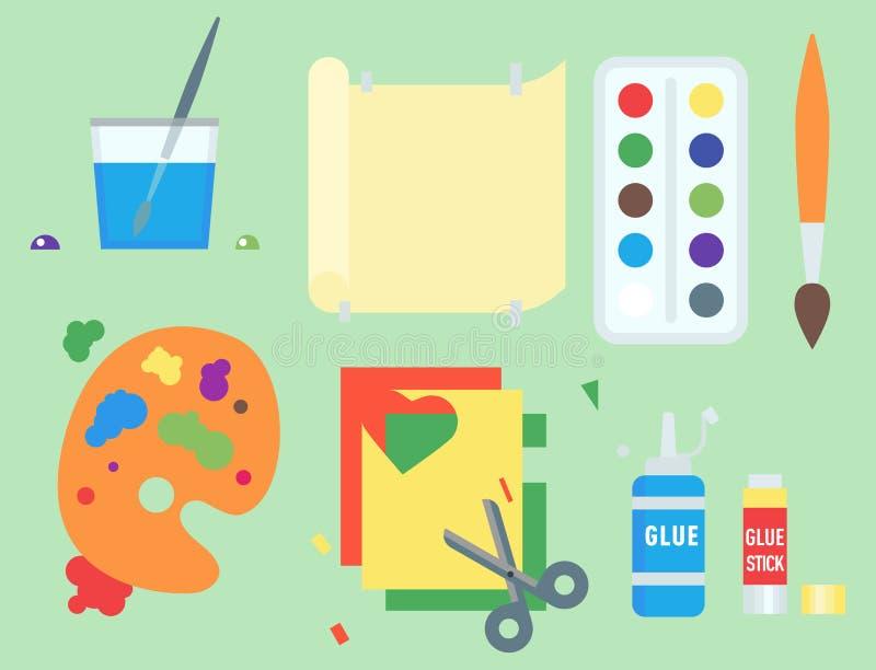 Themed affisch för symboler för ungekreativitetskapelse i plan stil med konstnärliga objekt för den ovanliga festen för barnkonst vektor illustrationer