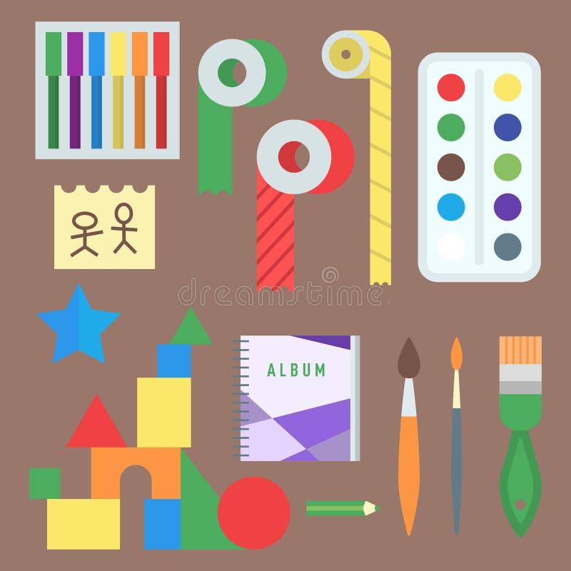Themed affisch för symboler för ungekreativitetskapelse i plan stil med konstnärliga objekt för den ovanliga festen för barnkonst stock illustrationer