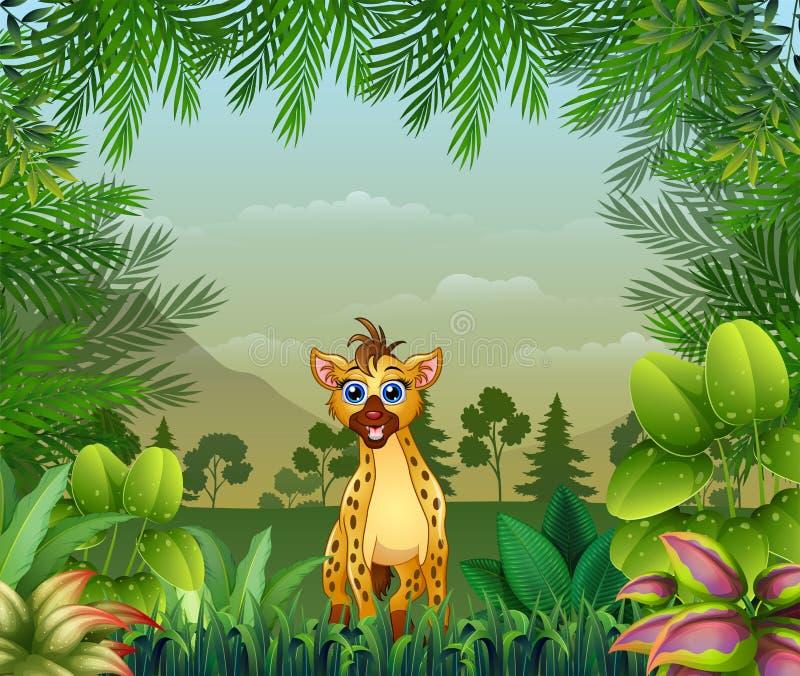 Themed bakgrund för djungel med en hyena royaltyfri illustrationer