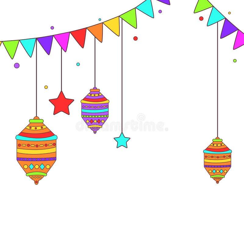 Themed buntings och lampor för Ramadan royaltyfri illustrationer