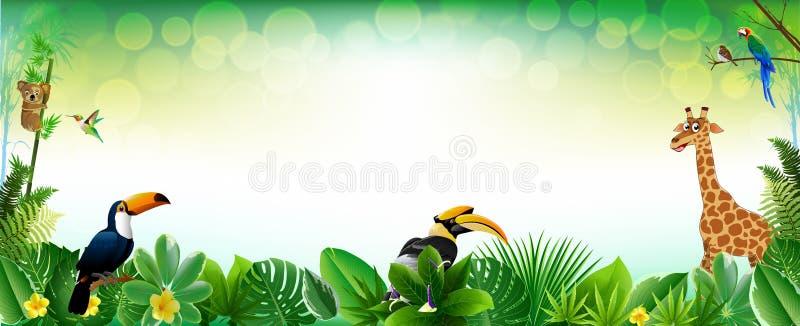 Themed djur bakgrund för djungel eller för zoo stock illustrationer