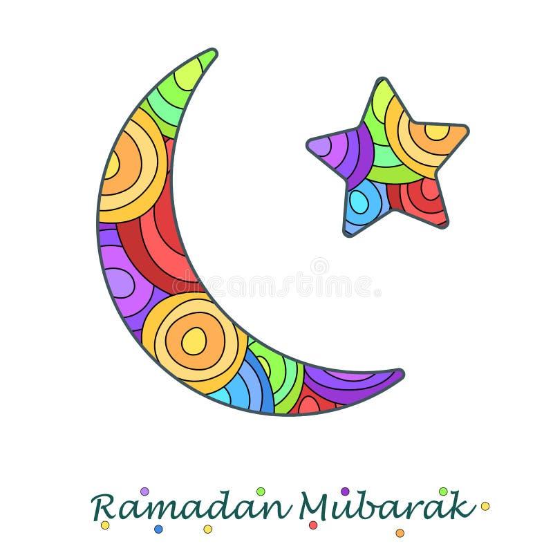 Themed halvmånformig och stjärna för Ramadan vektor illustrationer