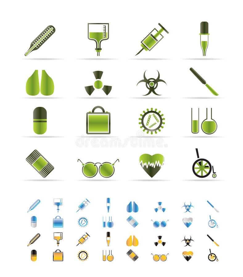 themed samlingssymbolsläkarundersökning stock illustrationer