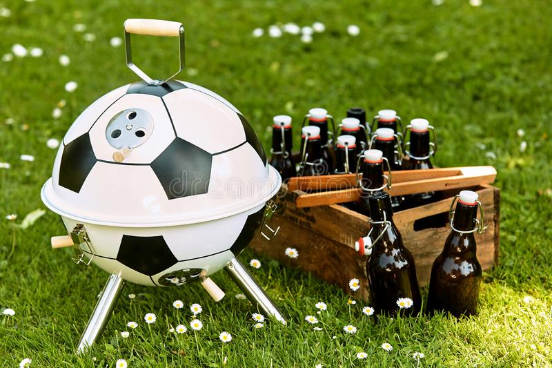 Themed soccer ball shaped BBQ for World Cup royalty free stock image