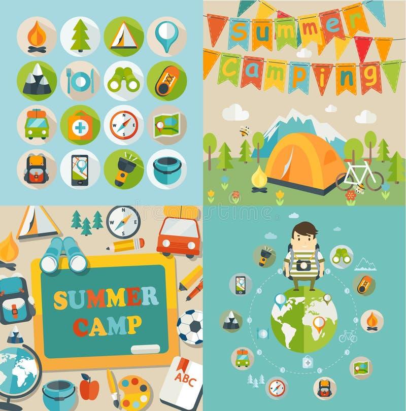 Themed sommarferie och lopp royaltyfri illustrationer