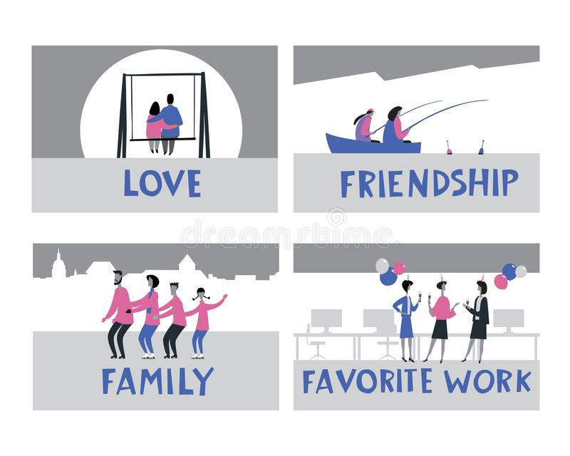 Themed vector stories. Love, Friendship, Favorite job, Family. Stylish hand lettering and drawings of people. Hand vector minimalistic graphics full color vector illustration