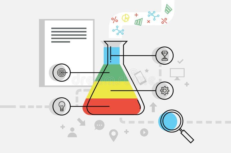 Themed vektorillustration för analys eller för affärsplan med provröret med färgrika fragment och symboler, förstoringsapparat oc stock illustrationer