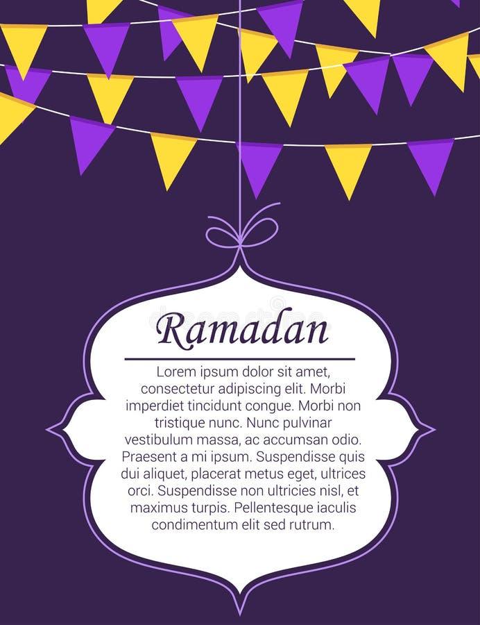 Themenorientierte islamische Artfahne Ramadans lizenzfreie abbildung
