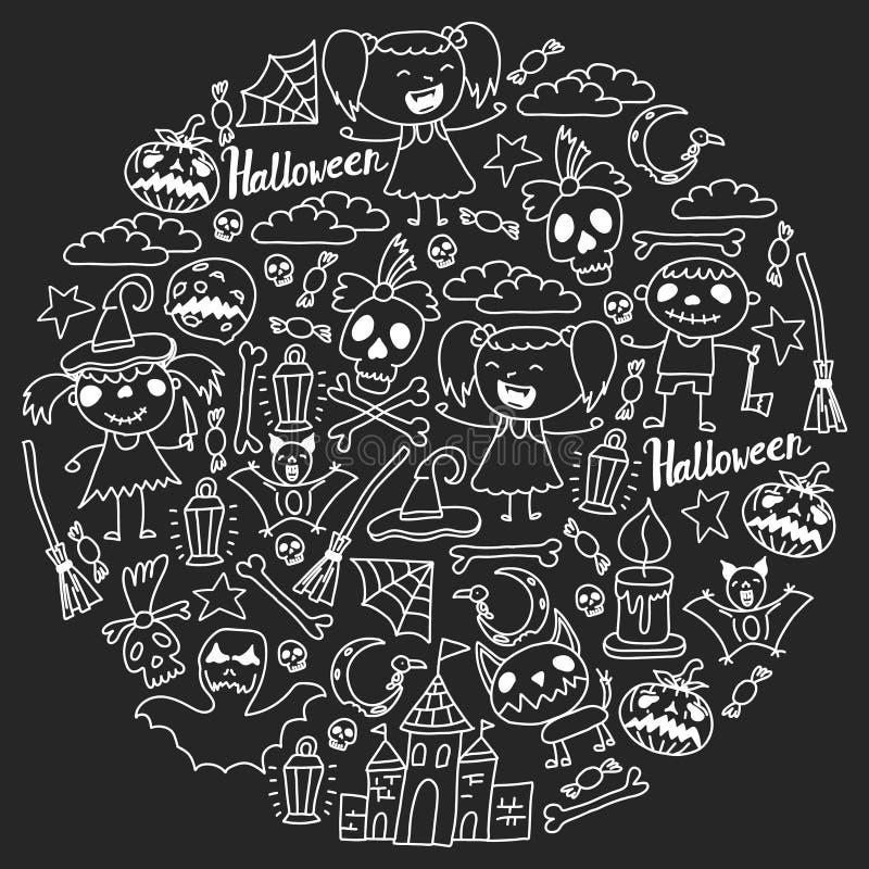 Themenorientierter Gekritzelsatz Halloweens Traditionelle und populäre Symbole - schnitzte Kürbis, Parteikostüme, Hexen, Geister, vektor abbildung