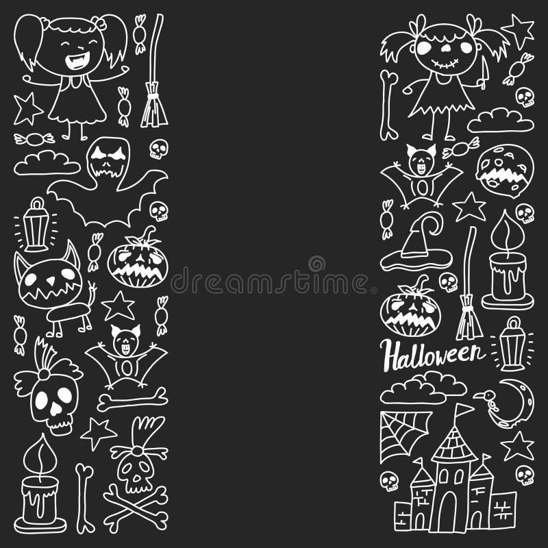 Themenorientierter Gekritzelsatz Halloweens Traditionelle und populäre Symbole - schnitzte Kürbis, Parteikostüme, Hexen, Geister, lizenzfreie abbildung
