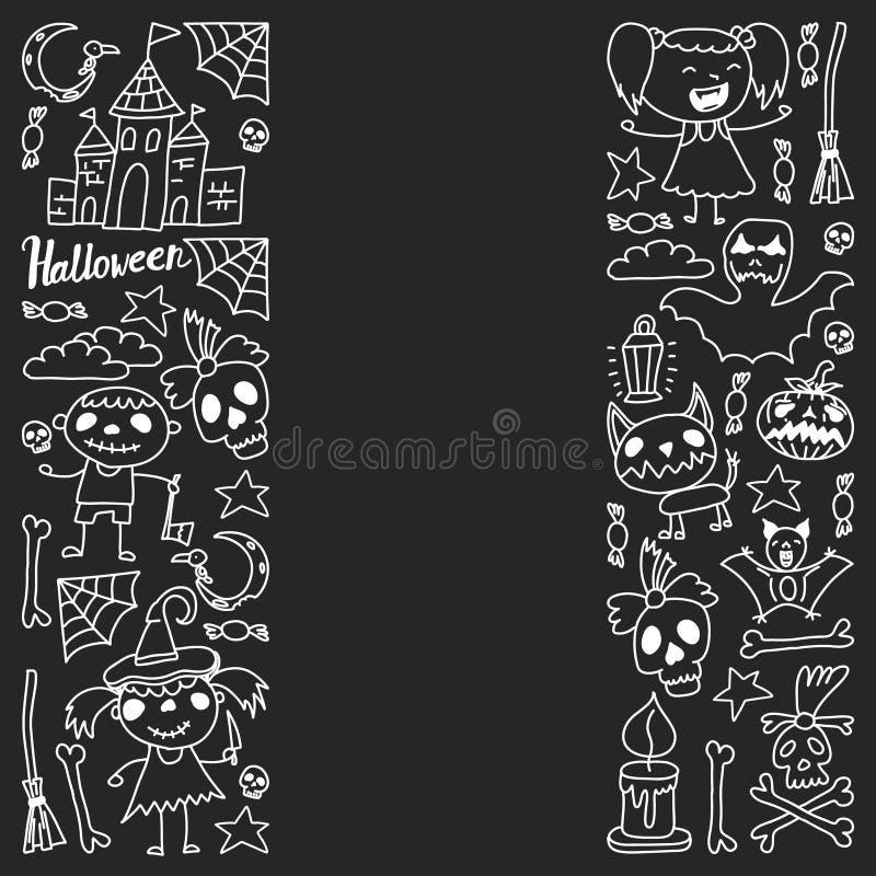 Themenorientierter Gekritzelsatz Halloweens Traditionelle und populäre Symbole - schnitzte Kürbis, Parteikostüme, Hexen, Geister, stock abbildung