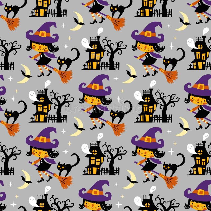 Themenorientiertes nahtloses Vektormuster Halloweens stock abbildung