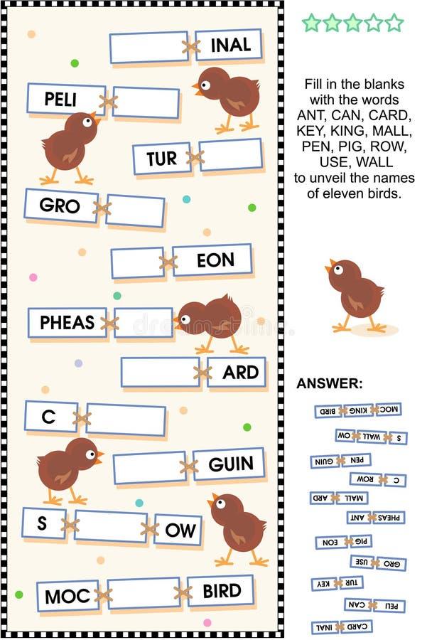 Themenorientiertes Wortpuzzlespiel der Vögel stock abbildung