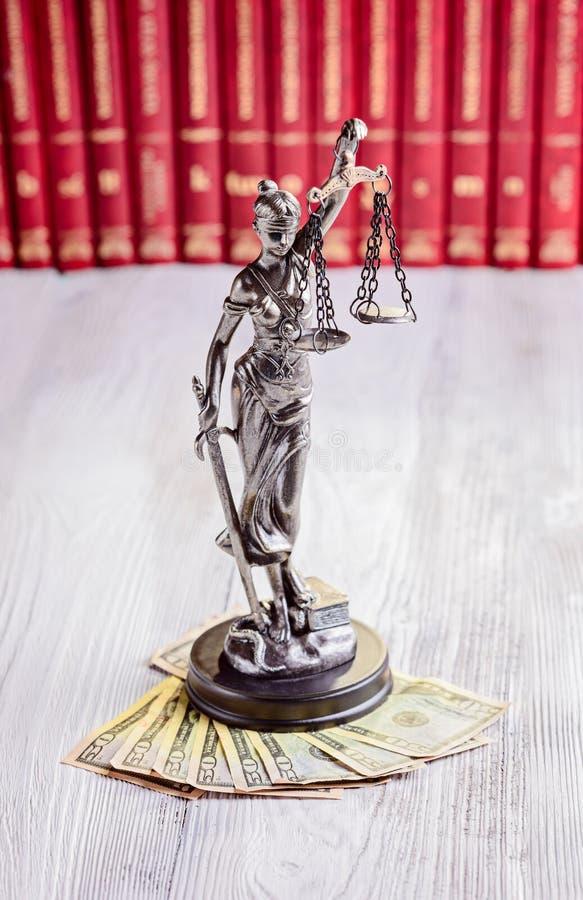 Themis和美国美元小雕象  免版税库存图片