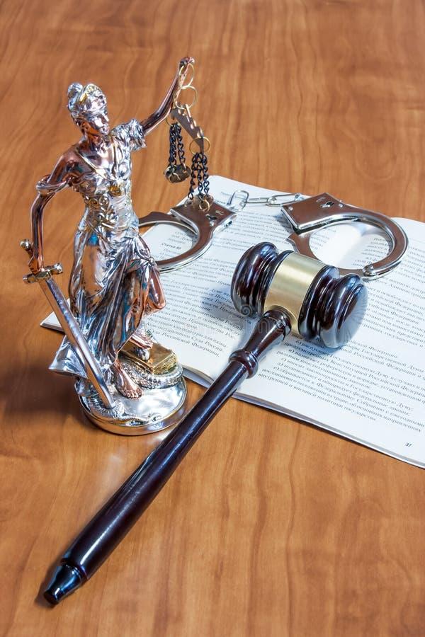 Themis小雕象,俄国Federatio的宪法 图库摄影