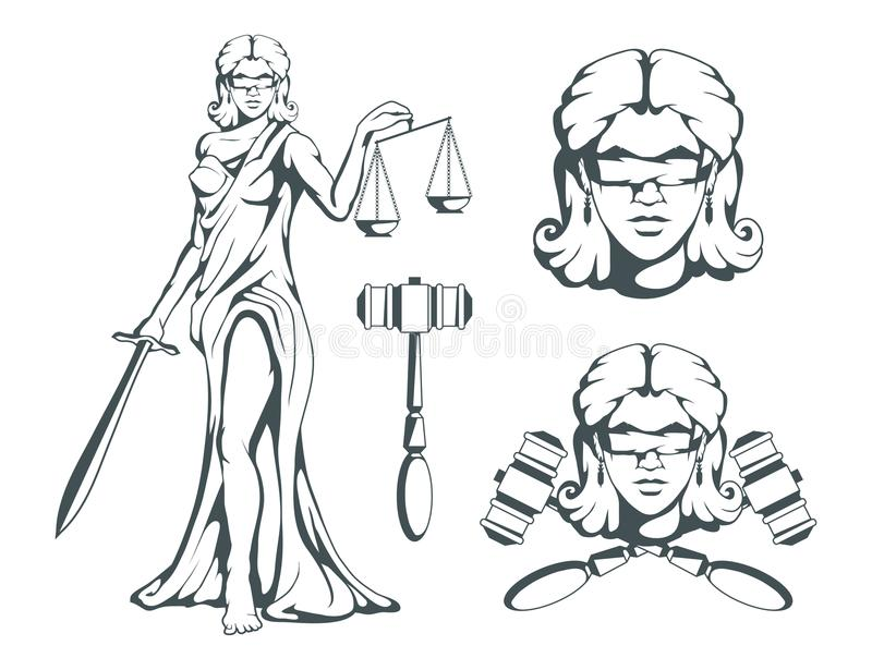 Themis - Ancient Greek goddess of justice. Hand drawn scales of justice. Symbols of the femida - justice, law, scales. Libra. And a sword in hands, a bandage on royalty free illustration