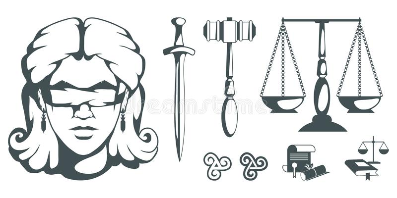 Themis - Ancient Greek goddess of justice. Hand drawn scales of justice. Symbols of the femida - justice, law, scales. Libra. And a sword in hands, a bandage on vector illustration