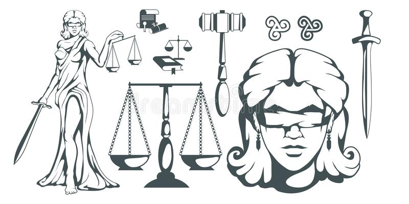 Themis - Ancient Greek goddess of justice. Hand drawn scales of justice. Symbols of the femida - justice, law, scales. Libra. And a sword in hands, a bandage on stock illustration