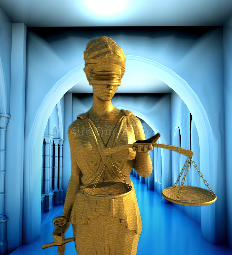 Themis in court. Law abstract composition stock illustration