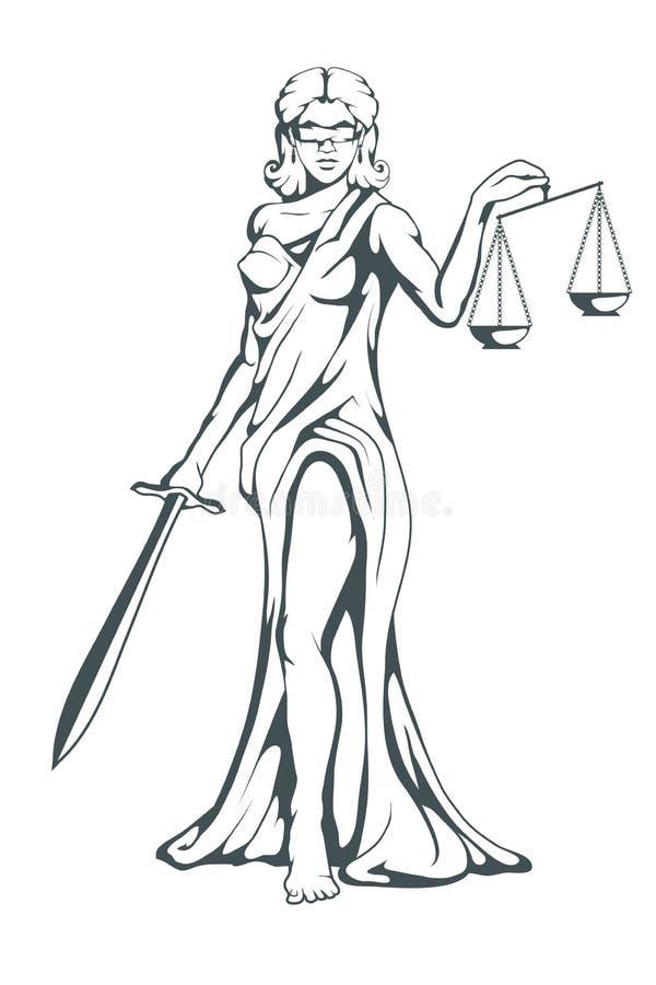 Themis - dea del greco antico di giustizia Bilancia della giustizia disegnata a mano Simboli del femida - giustizia, legge, scale illustrazione vettoriale